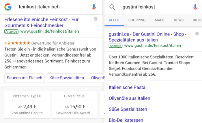 Neue Darstellung von mobilen Anzeigenerweiterungen
