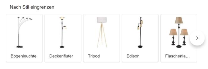 Google Suche verfeinern nach Stil