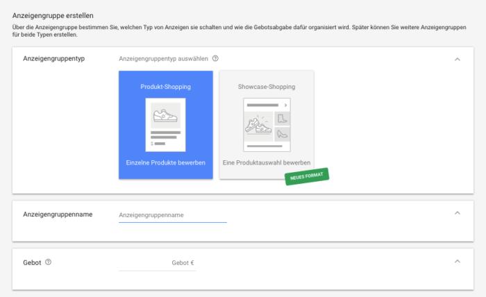 Showcase Ads für Google Shopping