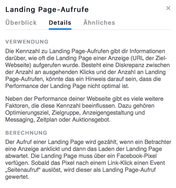 Landing Page Aufrufe