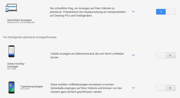Anzeigentypen bei Google AdSense