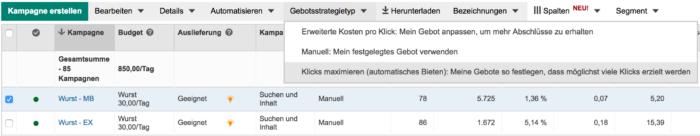 "Gebotsstrategie ""Klicks maximieren"""