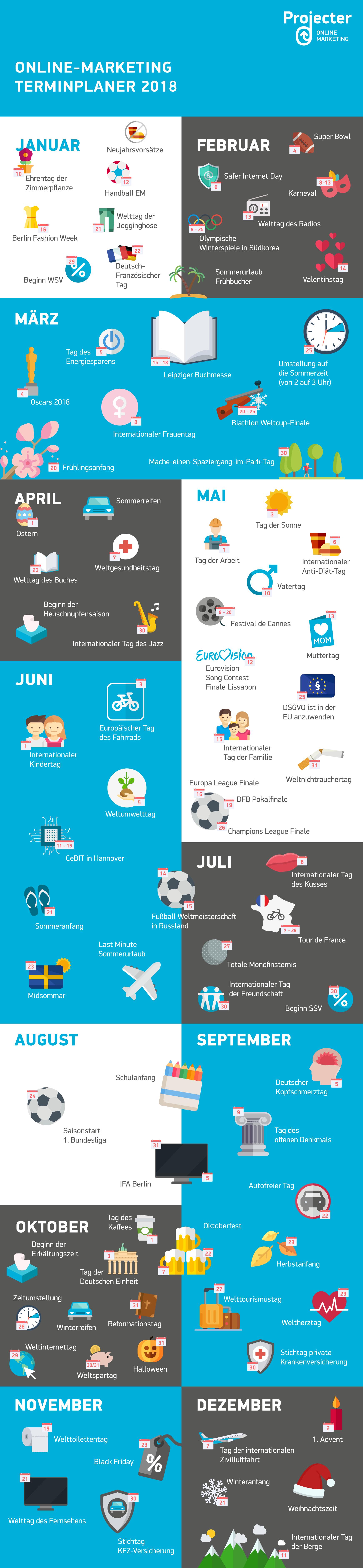 Online Marketing Kalender 2018