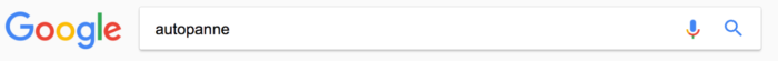 Google Suche nach autopanne