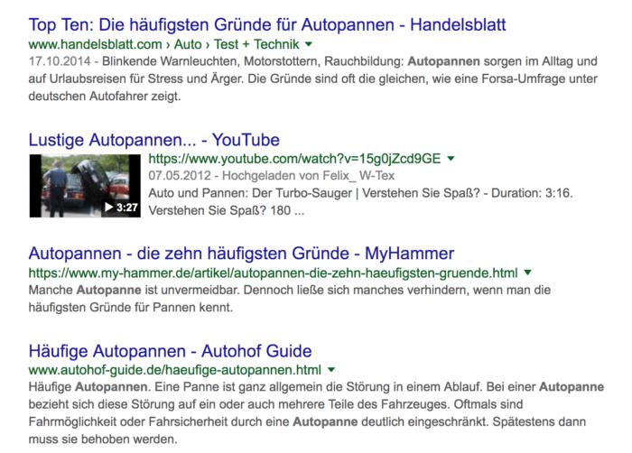 Google Suchergebnisse für das Wort Autopannen