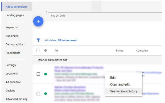 Versionsverlauf von Google Anzeigen