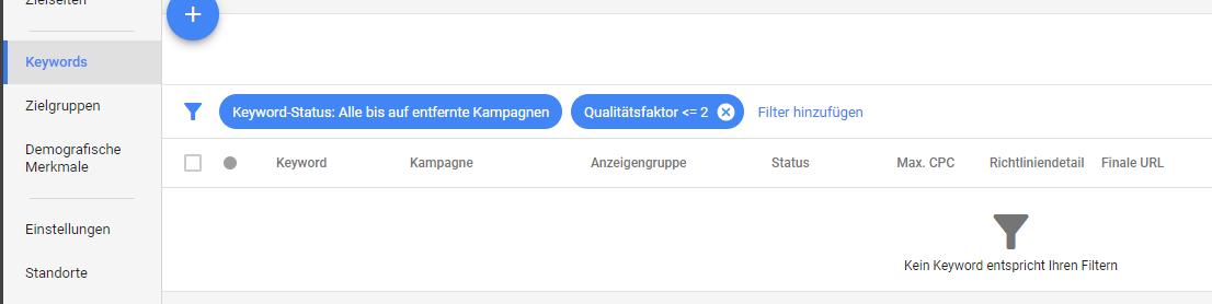 Google Ad-Grants-Konten_Automatisierte Regel einrichten_Qualitätsfaktor muss größer als zwei sein
