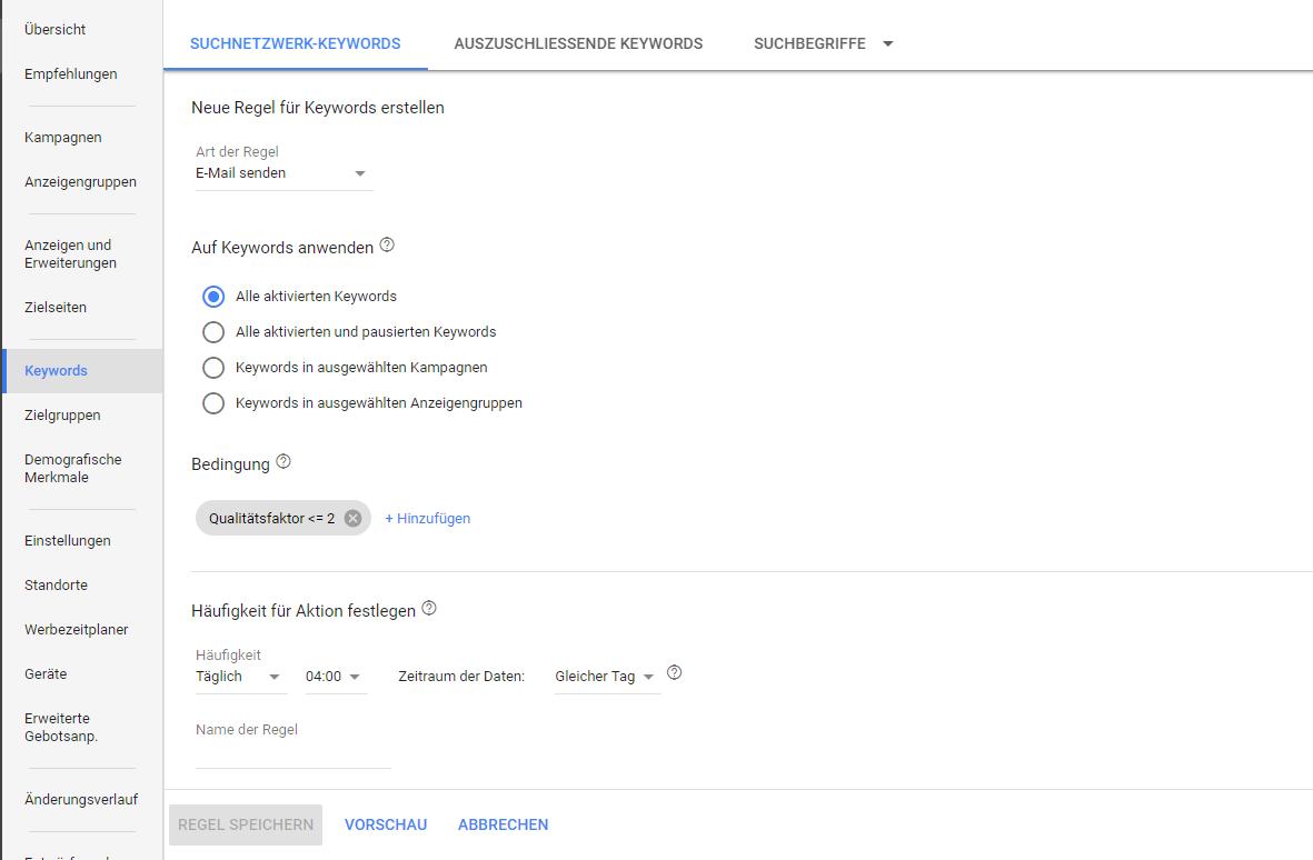 Google Ad-Grants-Konten_Wie richte ich eine automatisierte Regel ein