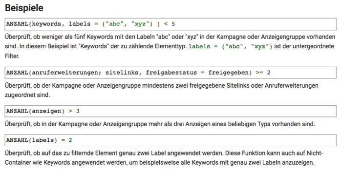 Die Anzahl-Funktion im Google AdWords Editor