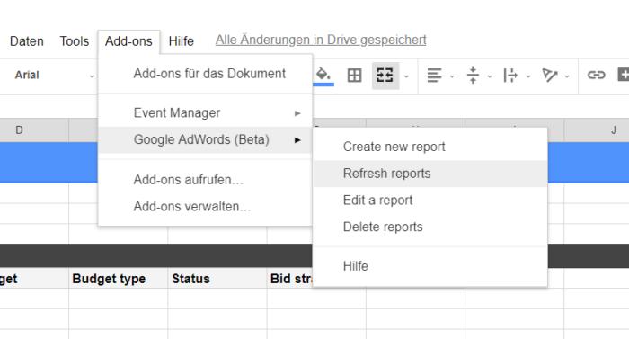 Google Tabellen Add-on zur vereinfachten Berichterstellung