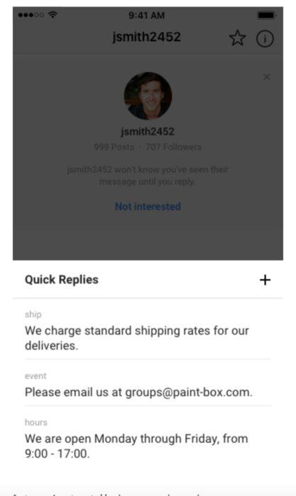 Quick Replies für Instagram Business Konten