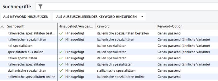 Suchbegriff-Bericht im Google AdWords Editor