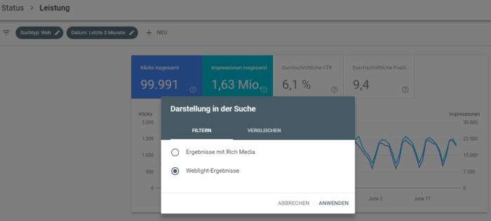 Filterfunktion für Weblight-Einblendungen in Google Search Console