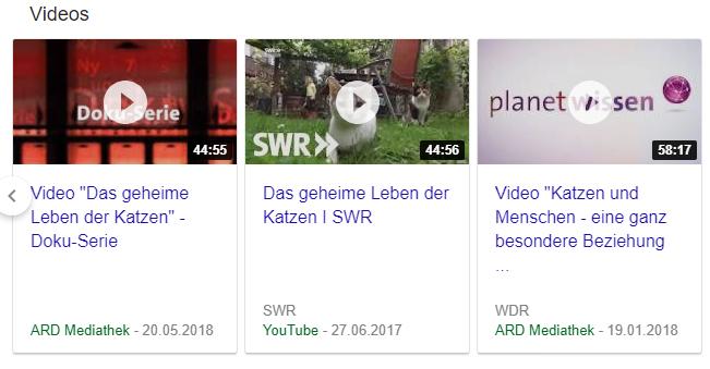 Neue Darstellungsform von Videos in einem Karussell
