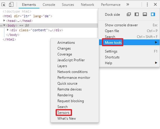 Simulation lokaler Suchergebnisse im Google Chrome Browser