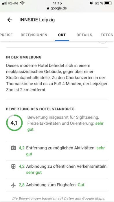 Bewertung des (Hotel)Standortes in den lokalen Google Sucheinträgen
