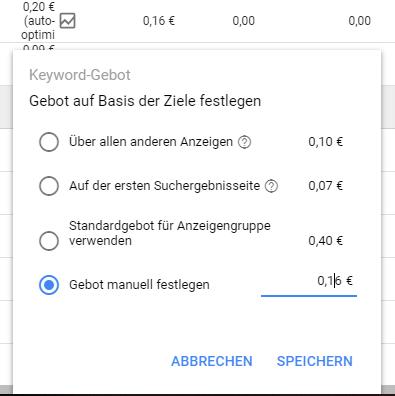 Gebotsvorschläge jetzt auch im neuen Google Ads Interface