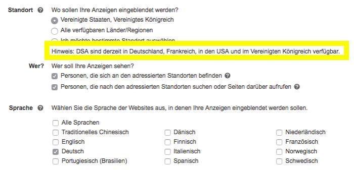 DSA Kampagnen bei Bing Ads