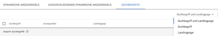 Leistungsdaten von Landingpages zu bestimmten Suchbegriffen