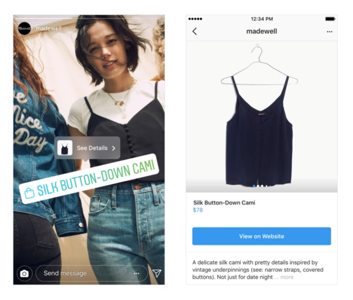 Shopping-Tags in Instagram Stories