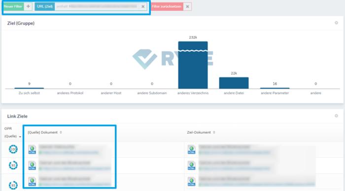 Link-Übersicht bei ryte: Über das Filtern nach der Schwellenkeyword-URL lassen sich Linkgeber-Seiten identifizieren