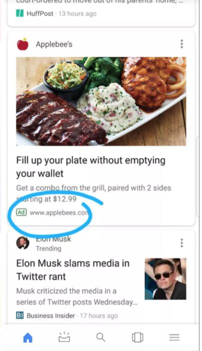 Ads im Google Feed