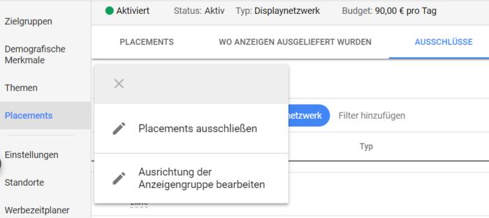 Ausschluss mobiler Apps in Google Ads