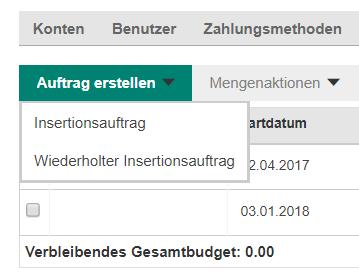 """""""Wiederholter Insertionsauftrag"""" bei Bing Ads einrichten"""