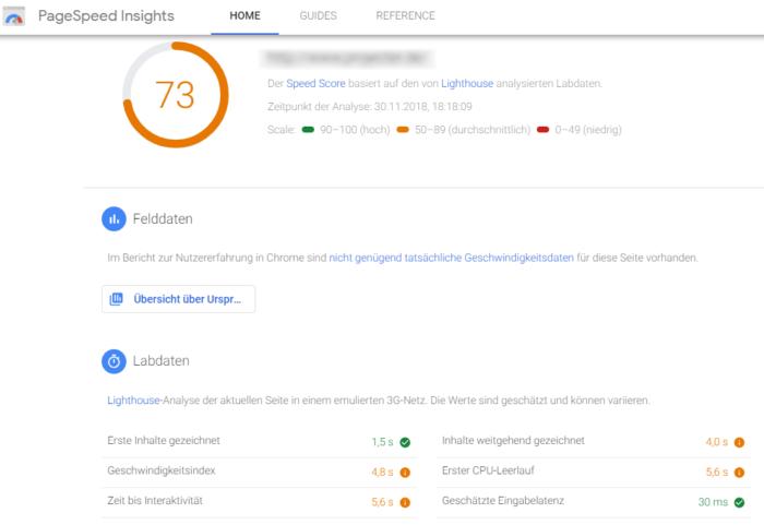 PageSpeed Insights nun mit Lighthouse Daten