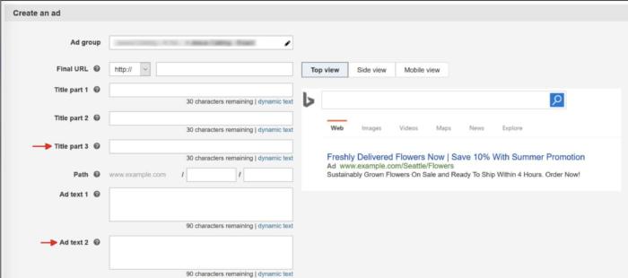 Erweiterte Textanzeigen in Bing Ads