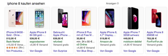 im Bild zu sehen: Anzeigen verschiedener Preissuchmaschinen in der Google-Suche