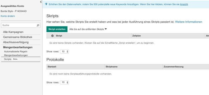 Skripte in Bing Ads