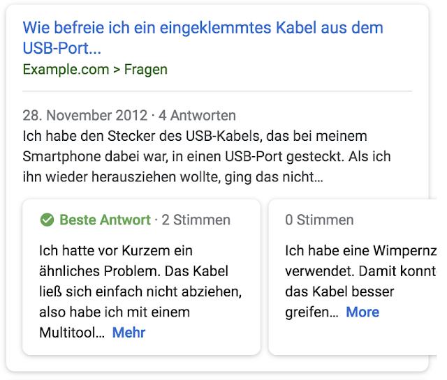 Beispiel eines neuen Rich Snippets mit Top-Antworten zu einer Frage (Quelle: webmaster-de.googleblog.com)