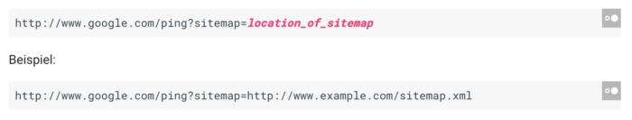 GET Anfrage zum erneuten Crawl der Sitemap