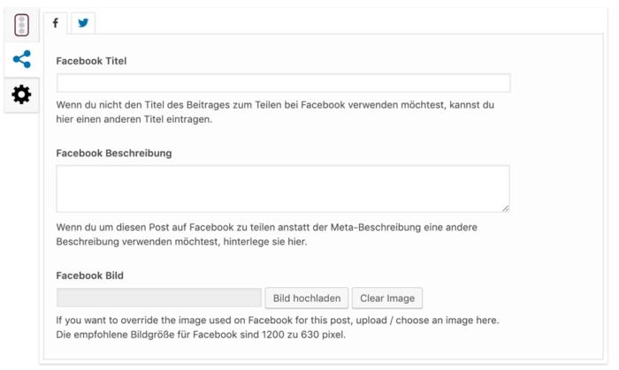 Wordpress Yoast: Facebook-Daten bearbeiten