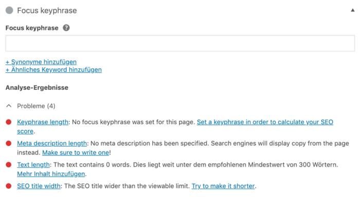 Wordpress Yoast: Focus Keyphrase