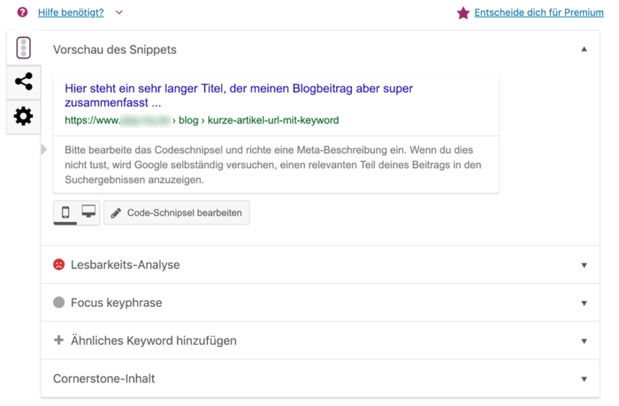 Wordpress Yoast: meta editieren