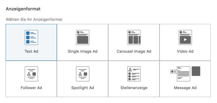 Zu sehen ist eine grafische Darstellung der Anzeigenformate auf Linked In