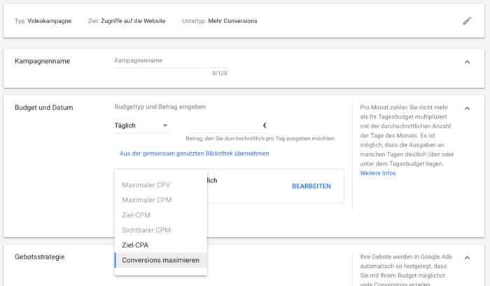 """Das Bild zeigt einen Screenshot der Einstellung """"Conversions maximieren"""" für Youtube."""