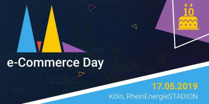 Zu sehen ist ein Banner des e-Commerce days 2019 in Köln.