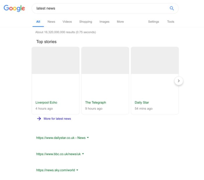 Das Bild zeigt Leere Google Suchergebnisse, wenn das geplante Leistungsschutzrecht umgesetzt würde.