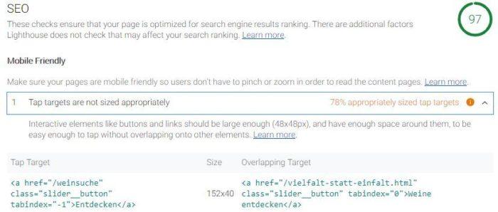 """Lighthouse zeigt für die mobile Optimierung nun Verbesserungen für """"Tap targets"""" an"""