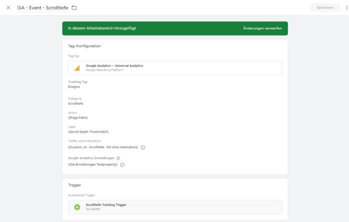 Screenshot des Vorgang einen Event Tag anzulegen für das scroll tracking mit google-tag manager und google-analystics