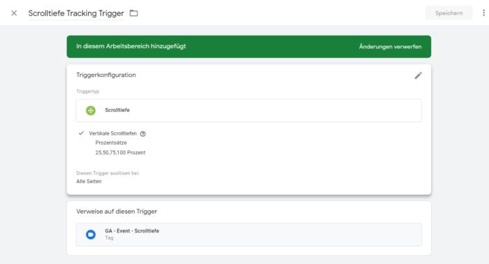 Screenshot des Vorgang einen Trigger zu erstellen für das scroll tracking mit google-tag manager und google-analystics