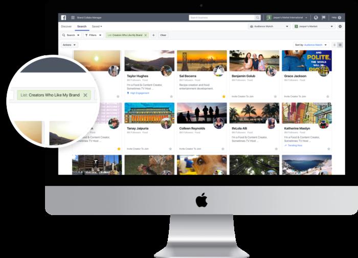Rollout des brand collab managers, zu sehen als Auswahl-Option auf Facebook.