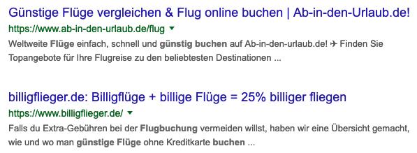 """Zu sehen ist ein Beispiel für die Suchanfrage """"günstige flüge"""""""