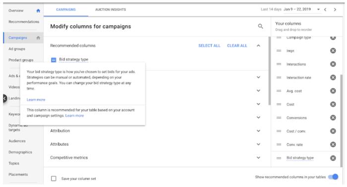 automatische Berichtsspalten in Google Ads