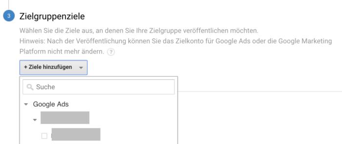 Funktion, um Google Ads mit Google Analytics zu verknüpfen
