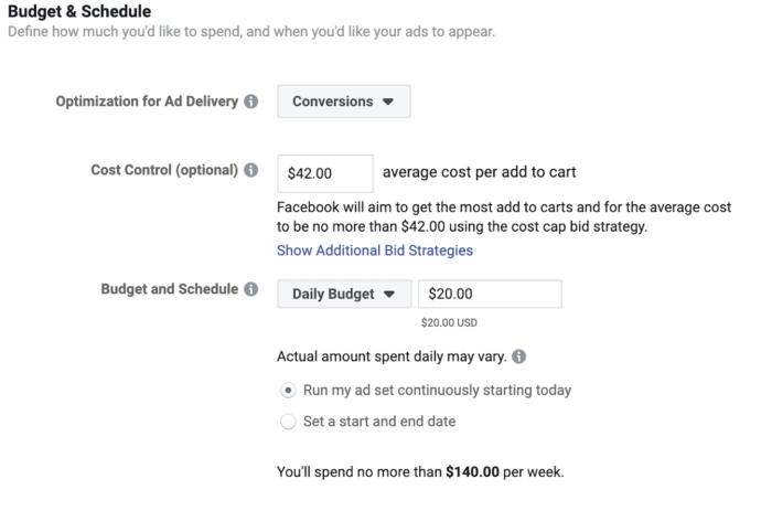 """Zu sehen ist die Maske """"Budget & Schedule"""" der neuen Gebotsstrategie für Facebook Ads"""
