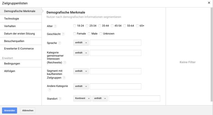 Interface für die Erstellung der Remarketing-Zielgruppen